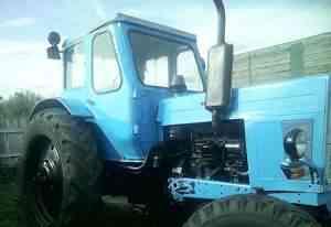 трактор, с телегой